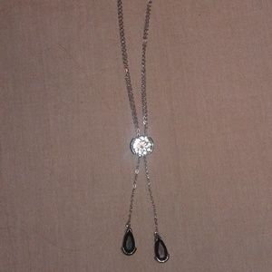 """.925 SS White Topaz & Black Spinel """"Y"""" Necklace"""